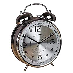 Qchengsan 4 Twin Bell Alarm Clock with Stereoscopic Dial, Backlight, Battery Operated Loud Alarm Clock (Silver)