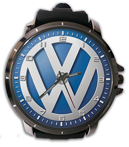 Hot New Custom VW Blue Sport Wristwatch Sport Big Face Rubber Band