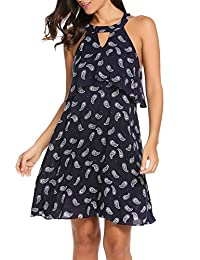 ACEVOG Summer Flared Sleeveless Casual Loose Short Mini Dress for Women