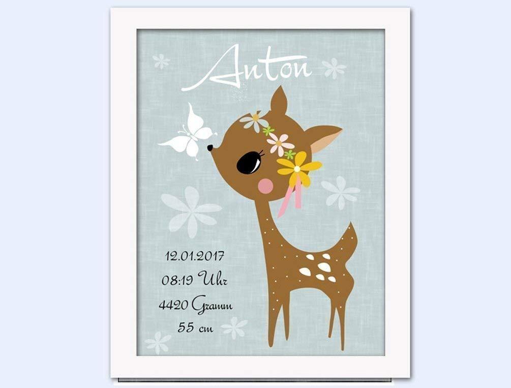 Geburt und Taufe personalisiert Kinderzimmer Baby Geschenk Kunstdruck