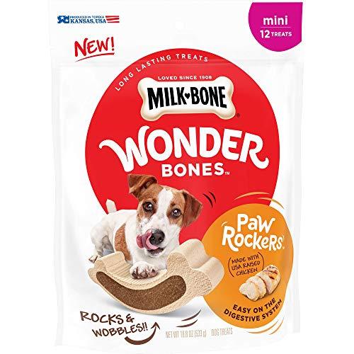Milk-Bone Wonder Bones Paw Rockers with Real Chicken, Long Lasting Dog Treats, Mini, 18.8 oz Pouch