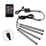Car Music LED Light Strip, 4pcs 48 LED Multicolor Music Car Interior Atmosphere Lights Light, USB LED Strip for Car TV Home with Sound Active Function, Wireless Remote Control and Smart USB Port