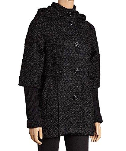 Esprit Wool - ESPRIT Black Hoddded Wool-Blend Coat, XL
