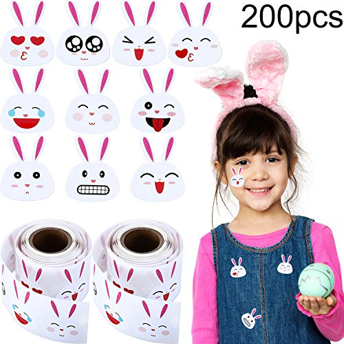 Chuangdi 200 Pieces Easter Bunny Stickers Emoji Bunny Face Stickers, Easter Stickers 1.5 Inch Adhesive Labels on 2 Rolls for $<!--$6.15-->