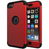 iPod Touch 6 Case,iPod Touch 5 Case,SLMY(TM)High Impact Heavy Duty Shockproof Full-Body Protective Case with Dual Layer Hard PC+ Soft Silicone For Apple iPod Touch 6th/5th Generation Red/Black