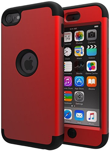 iPod Touch 7 Case,iPod Touch 6 Case,SLMY(TM)High Impact Heavy Duty Shockproof Full-Body Protective Case with Dual Layer Hard PC+ Soft Silicone For Apple iPod Touch 7th/6th/5th Generation Red/Black (Ipod Touch 5 Generation Cases)