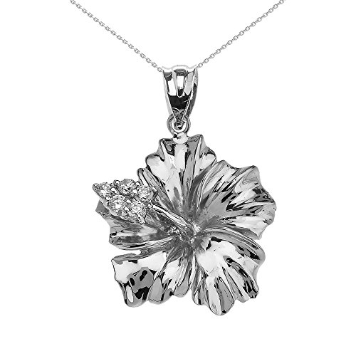 (Flower Collection Sterling Silver Caribbean Hibiscus (Malvaceae) Cubic Zirconia Pendant Necklace,)