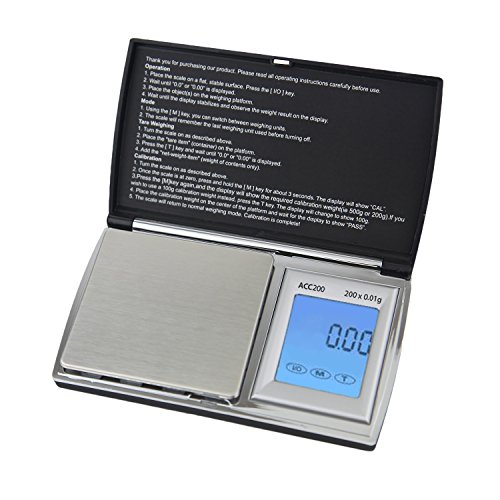 Smart Weigh ACC200 AccuStar Digital Back-Lit Touch Screen Pocket Scale, Black