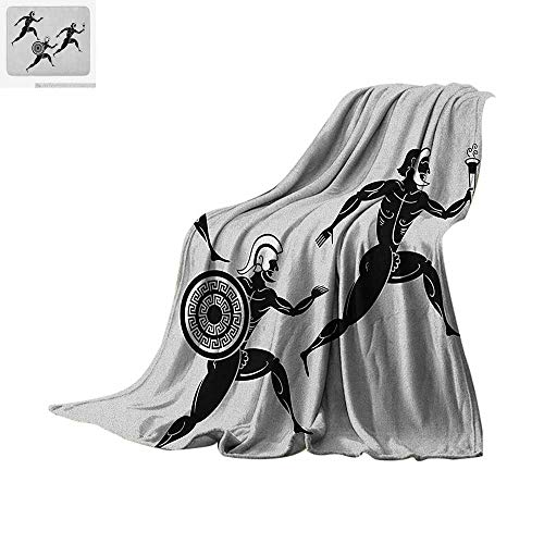 Luoiaax Toga Party Digital Printing Blanket Historical Ancient Spartan Runners Antique Body Heritage Illustration Oversized Travel Throw Cover Blanket 60