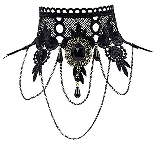 iWenSheng Halloween Costumes Jewelry for Women - Steam-Punk Black Lace Choker Necklace Gothic Jewelry Accessories, Vampire Choker Necklace Costume for Teen Girls (1#)]()