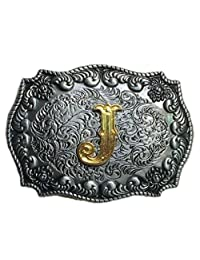 Rodeo Scroll Initial Letters Belt Buckle Western Style Mens Antique Cowboy Gifts