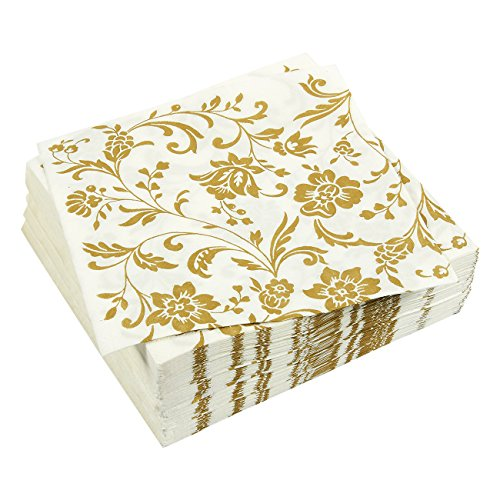 100-Pack Dinner Napkins - Gold Floral Print Disposable Paper Party Cocktail Napkins - Decorative Napkins for Dinner, Shower, Event and Anniversary, 6.5 x 6.5 inches, White (Unforgettable Desserts)