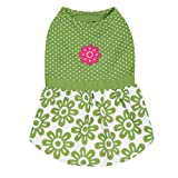 Zack and Zoey Polyester/Cotton Dog Country Club Dress, Teacup, Green, My Pet Supplies