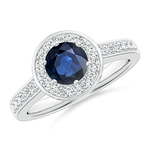 Blue Sapphire Halo Ring with Diamond Accents in Platinum (6mm Blue Sapphire) -