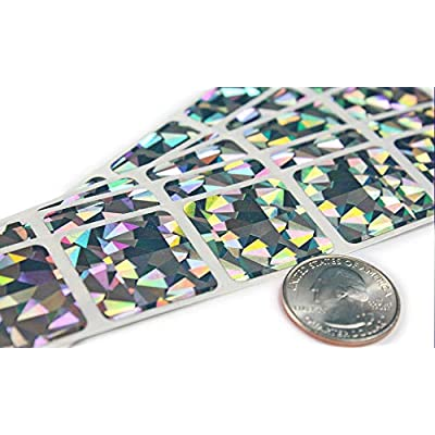 My Scratch Offs 1 Inch Square Metallic Silver Hologram Scratch Off Sticker Labels - 250 Pack: Office Products
