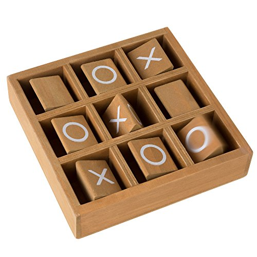 Hey! Play! Tic-Tac-Toe Small Wooden Travel Game with Fixed, Spinning Pieces - Traveling Board Game for Adults, Kids, Boys and Girls by by Hey! Play! (Image #2)