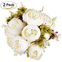 Artificial Peony Wedding Flower Bush Bouquet-GreenDec Vintage peony Silk Flowers for Home Kitchen Wreath Wedding Centerpiece Decor (White, 2 Pack)