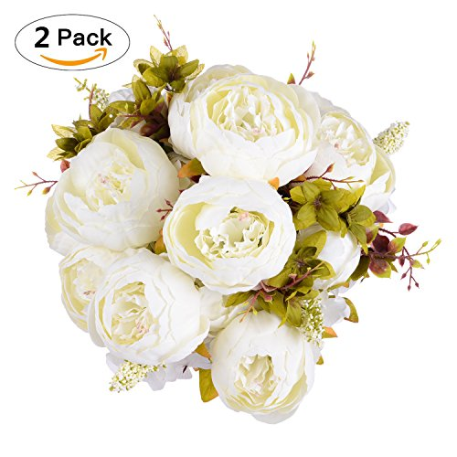 Artificial Peony Wedding Flower Bush Bouquet-GreenDec Vintage peony Silk Flowers for Home Kitchen Wreath Wedding Centerpiece Decor (White, 2 Pack) (Wedding Peony Flowers)