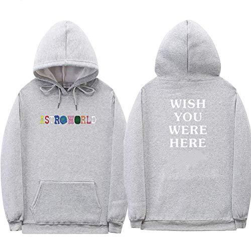 Travis Scott Astroworld Hoodies Letter Print Hoodie Streetwear Man and Woman Pullover Sweatshirt, (XL, Gray XMS68)