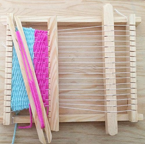 Windaze Kid's Wooden Weaving Loom Kit with Yarns Warp Weft Adjusting Rods, Combs and Shuttles (S) (Loom Weave)