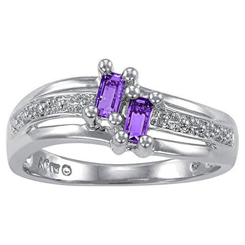(ArtCarved Love Moments Simulated Amethyst February Birthstone Ring, Sterling Silver, Size 7)