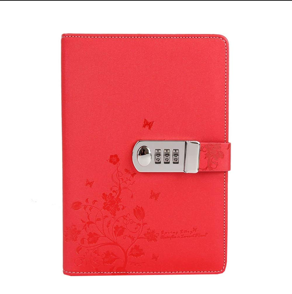 Locked Diary Password Book Student Notebook (Color : Red)