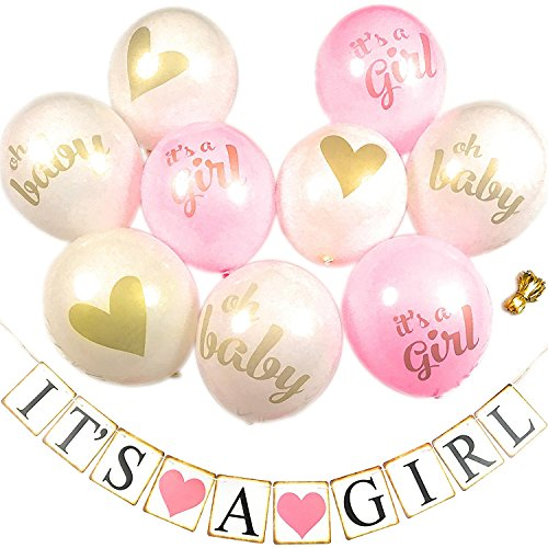 Baby Shower Decorations: Its A Girl 9 PCS Balloons with Ribbon and Banner Pink / Gold / White Kit Set | Hang on Wall Door (Personalized Party Balloons)