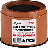 """iPrimio Bed and Furniture Risers – 4 Pack Round Elevator up to 3"""" to 6'' & Lifts Up to 10,000 LBs - Protect Floors and Surfaces – Durable ABS Plastic and Anti Slip Foam Grip – Stackable – Brown"""