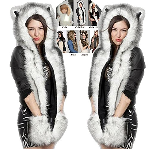 Yealsha Women's Winter Cartoon Animal Hat Glove, Faux Fur Hood Hoodie Scarf and Paw Mittens (1)