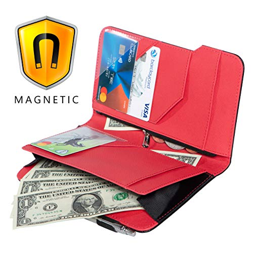 Ogalv 5x8 Server Book Red for Waitress Waiter Organizer Magnetic with Zipper Pocket Money Pen Holder Fits Restaurant Guest Check Order Pad and - Red Server