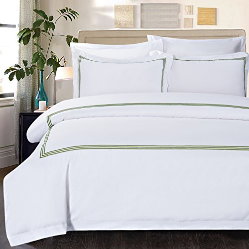 SweetHome 450 Thread Count Percale Egyptian Cotton Sateen Duvet Cover Set Hotel Stitch Green Queen (Queen, Green) (Potterybarn Bed And Bath)