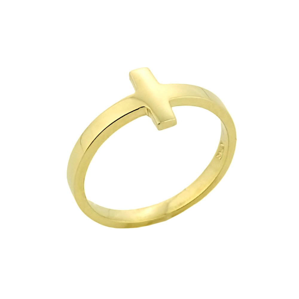 Dainty 14k Yellow Gold Mid Finger Band Sideways Cross Knuckle Ring, Size 3