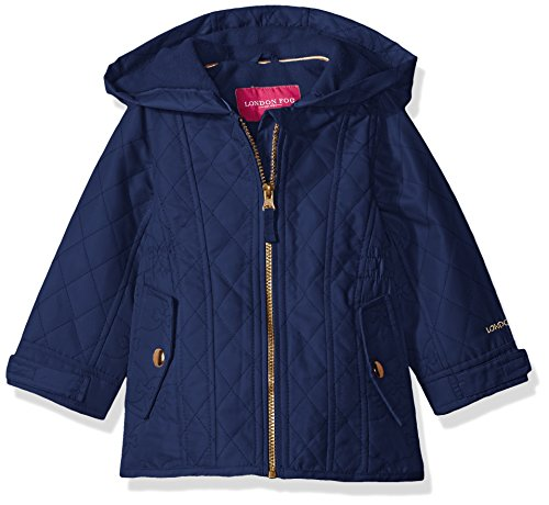London Fog Little Girls' Toddler Midweight Multi Quilted Barn Jacket, Navy, 4T