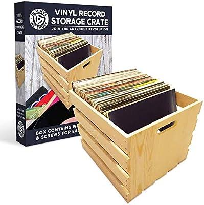 Caja de almacenamiento de discos de madera para LPS y vinilo con ...