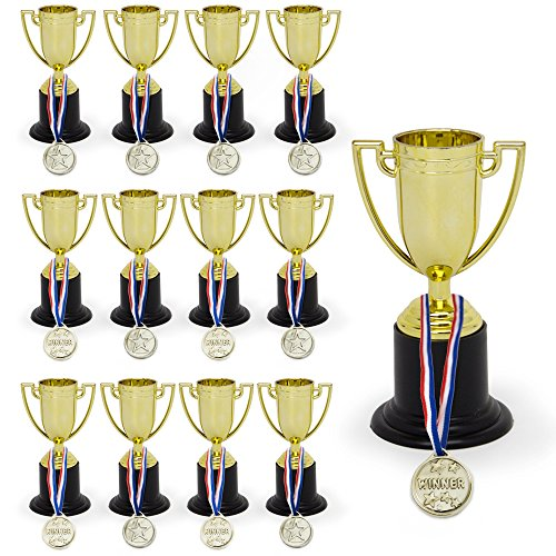Amazing Set of 12 Trophies 4 Inch & 12 Medals Complete Pack of Super-Shiny Golden Winner Awards for Kids & Adults-Ideal As Party Favors, Reward Prizes-for Celebrations Ceremonies Sports Events -