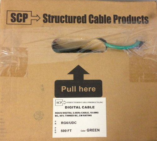 RG6/UDC-GN SCP HDTV Serial Digital RG6/U 18 AWG BC Tinned Copper Braid 3.0GHZ Green Jacket 500 feet