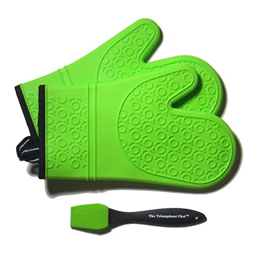 Super Flex Silicone Oven Mitt, Deluxe Quilted Liner, 1 Pair, Lime Green, Bonus Sauce Brush