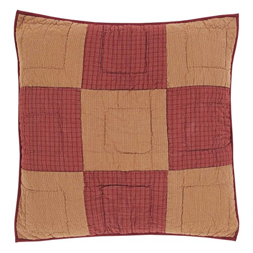 VHC Brands Classic Country Primitive Bedding - Ninepatch Star Red Quilted Euro Sham