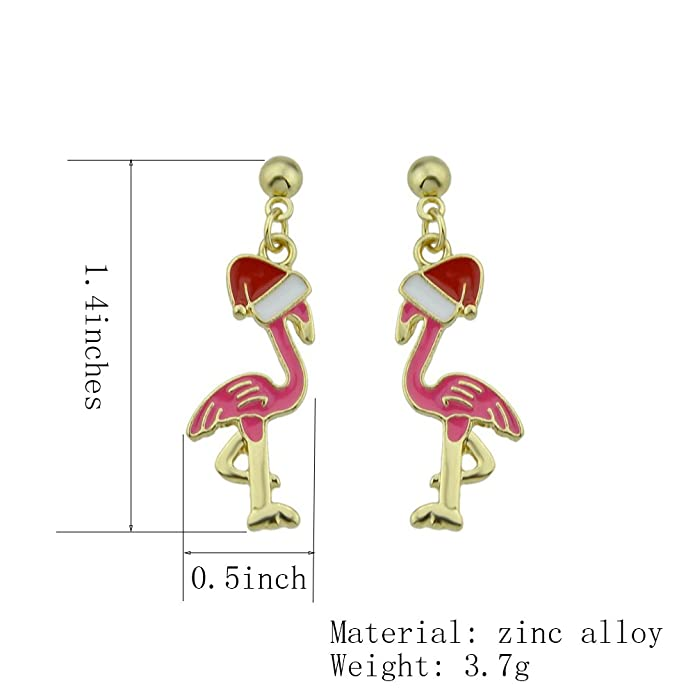 f407de9df Amazon.com: Gold Plated Pink Flamingo Fashionable Dangle Earrings Cute Bird  Jewelry for Christmas Gifts (stud flamingo): Jewelry
