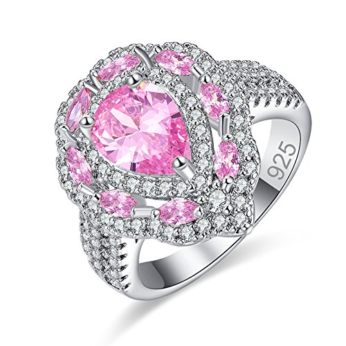 Veunora Gorgeous 925 Sterling Silver 7x10mm Pink Topaz Filled Cluster Cocktail Ring for Women Size 9 ()