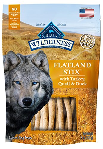 Blue Buffalo Wilderness Grain Free Dog Treats Flatland Feast Stix With Turkey, Quail & Duck 6Oz
