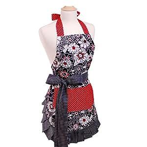 Delantal para mujer de Flirty Aprons, algodón, Scarlet Blossom, talla única