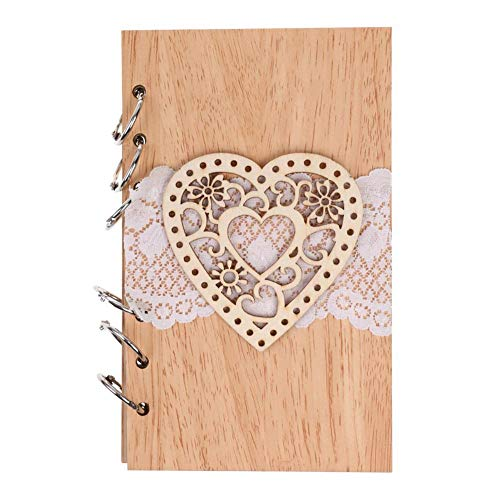 Sweetheart Guest Book - Mikolot Wedding Guest Book, 35 Inside Pages Mr Mrs Wooden Rustic Vintage Wedding Album Hardcover Guest Register Guestbook (Sweetheart)
