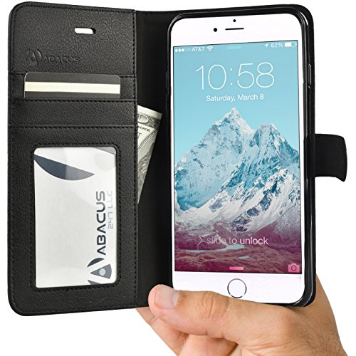 Black Folding Case (Abacus24-7 iPhone 6 PLUS / 6S PLUS Case, Wallet with RFID Blocking Flip Cover, Black)