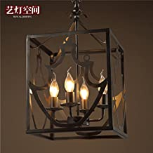 Quietness @ American Industrial Wind Retro Lamps Minimalist Creative Birdcage Chandeliers 280MM*570MM Pendant Lamp for Kids Bedroom Dinning Room Living Room Warehouse 110V-120V