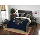3 Piece NFL Rams Comforter Full Queen Set, Blue Tan Multi Football Themed Bedding Sports Patterned, Team Logo Fan Merchandise Athletic Team Spirit Fan, Polyester, For Unisex