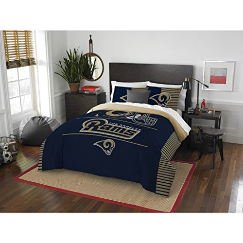 3 Piece NFL Rams Comforter Full Queen Set, Blue Tan Multi Football Themed Bedding Sports Patterned, Team Logo Fan Merchandise Athletic Team Spirit Fan, Polyester, For Unisex by un