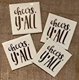 Cheers Y'all Coasters Set of 4 - Handmade, Congratulations Gift, Southern Gift, Gift for Coworkers, Wine Champagne Coasters, Gift to New Couple, New Home Gift, Dinner Party Gift, Gift for Host