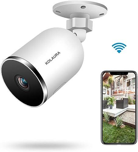 Outdoor WiFi Security Camera, Kolaura Home Smart Surveillance Camera, IP66 Waterproof, Support 2 Way Audio, Night Vision, Motion Sensor, Cloud Storage Service