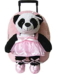 Kreative Kids Pink Ballet Panda Rolling Backpack w/ Removable Stuffie & Wheels